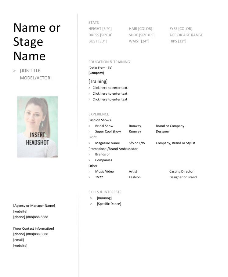free download modeling resume template from fashion dos donuts modeltips - Model Resume