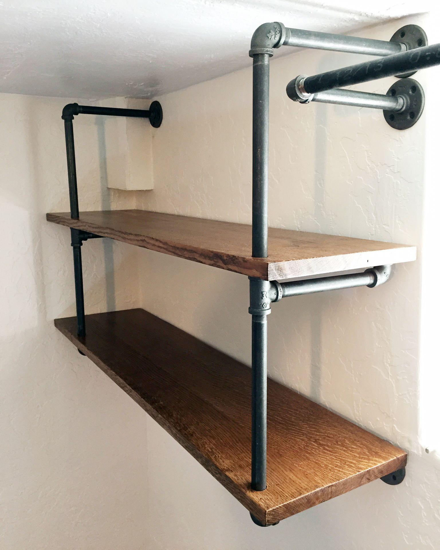 diy industrial pipe shelving tuyau tablette et appartements. Black Bedroom Furniture Sets. Home Design Ideas