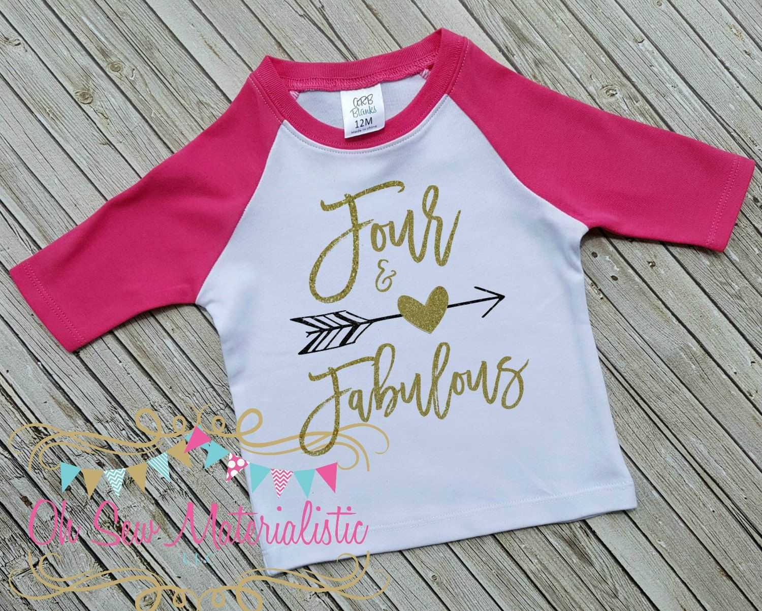 Design your own t-shirt hot pink - Personalized Girl S Heat Pressed Gold And Black Glitter Vinyl On Hot Pink Raglan Four And