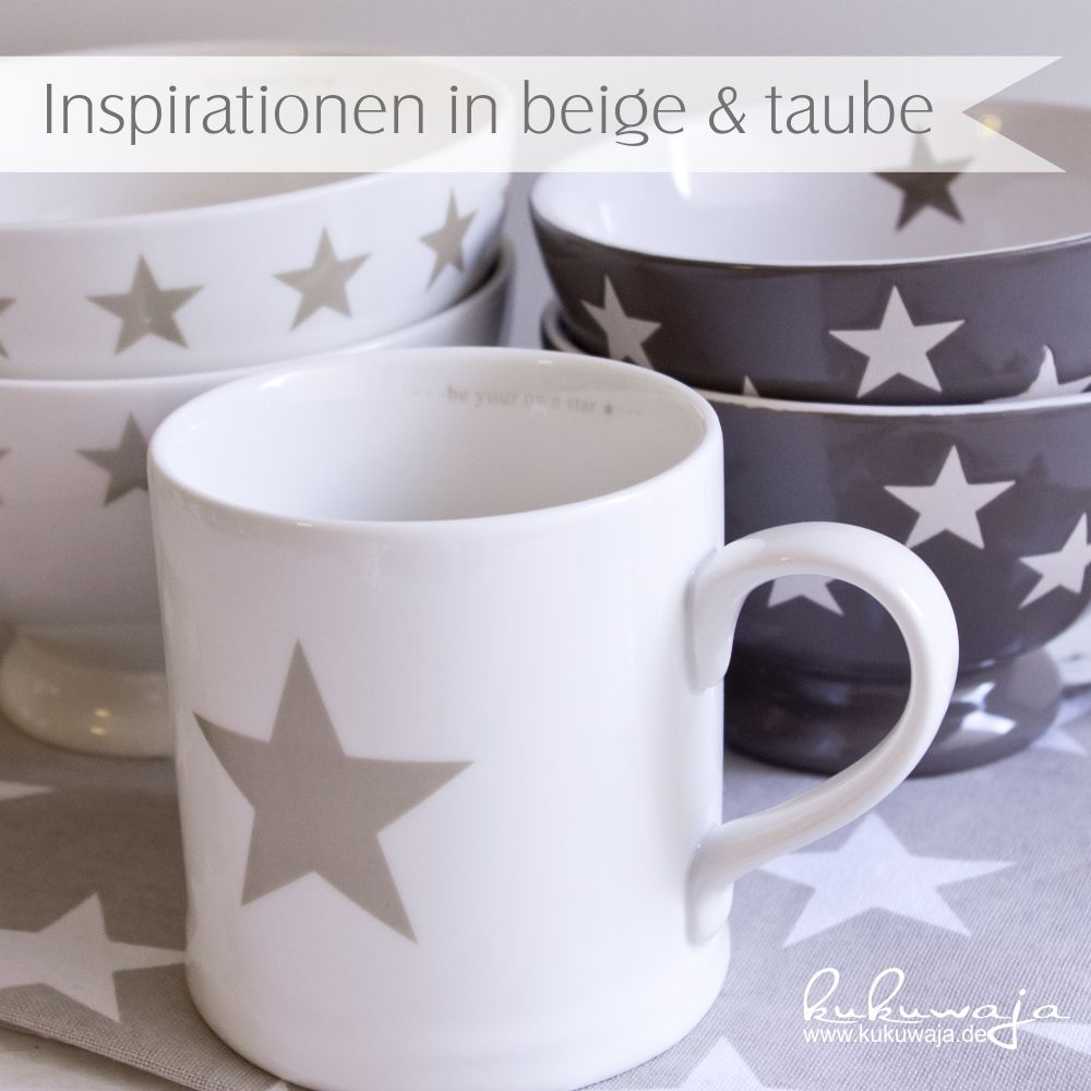 geschirr k che beige taube sterne mugs bowls stars and more mugs. Black Bedroom Furniture Sets. Home Design Ideas