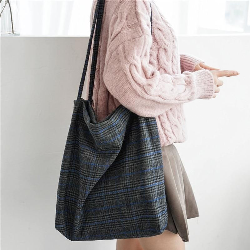 Plaid Wool Tote Bag In 2019 Wishlist Bags For
