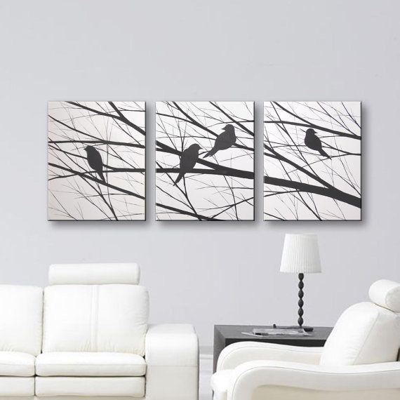 Amazing SALE Bird Silhouette Wall Art Canvas Art Original Painting Home Decor  Modern Art Tree Wall Decor