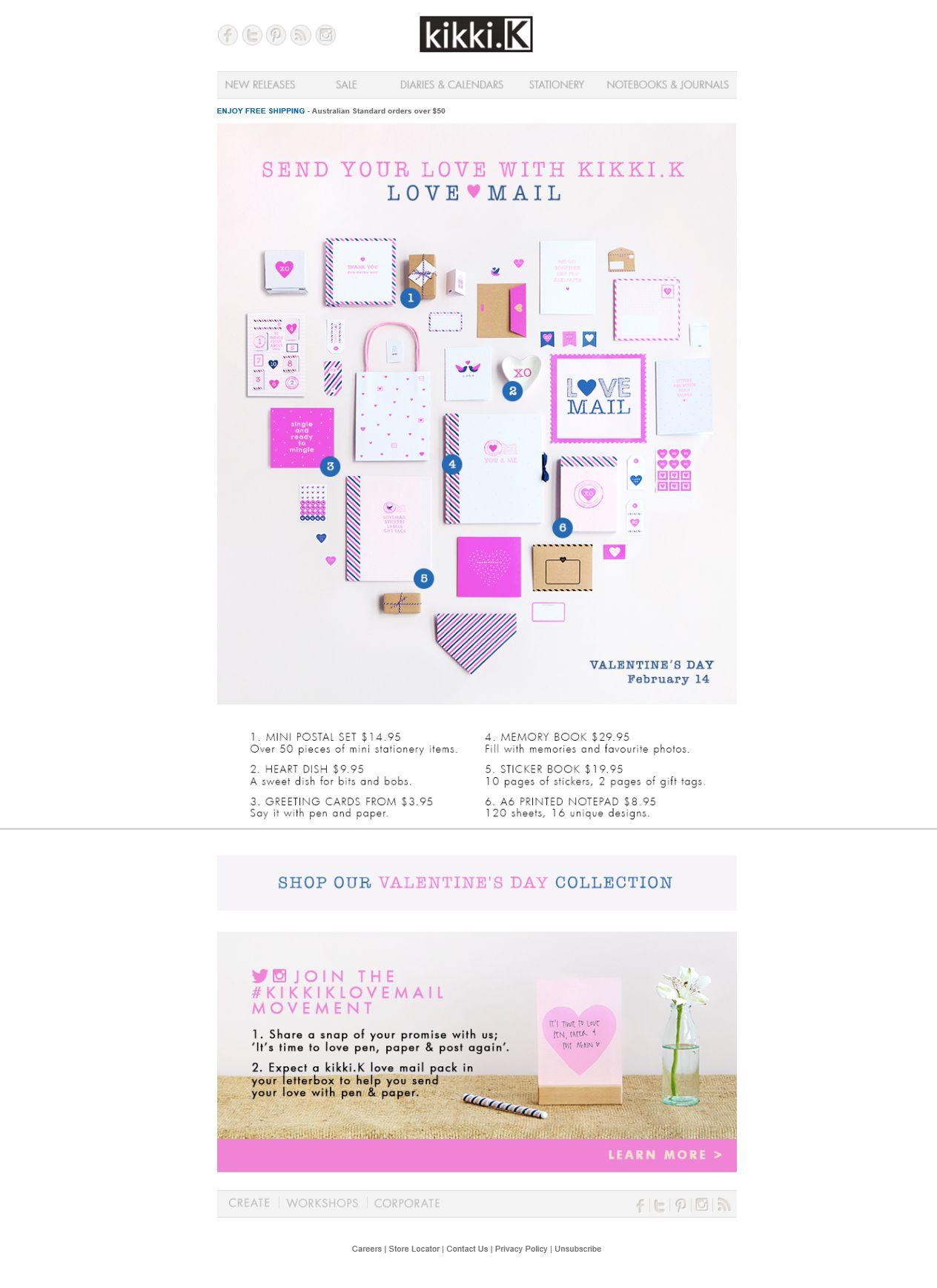 Kikki k email design valentines day email design love