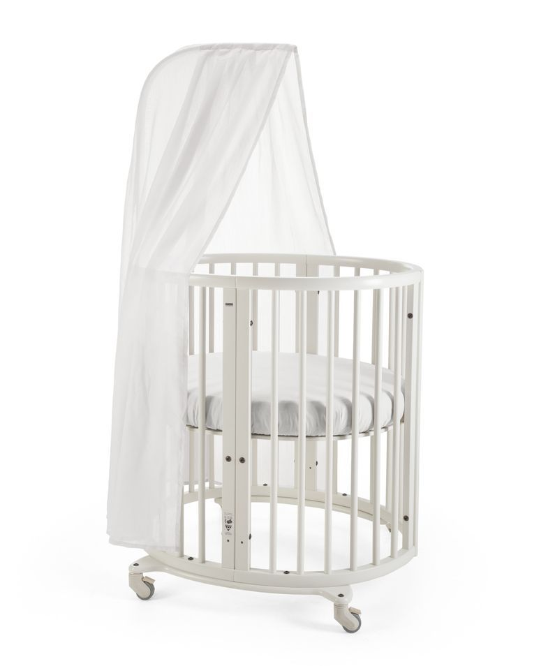 Stokke sleepi mini crib in white with canopy rod the for White canopy crib