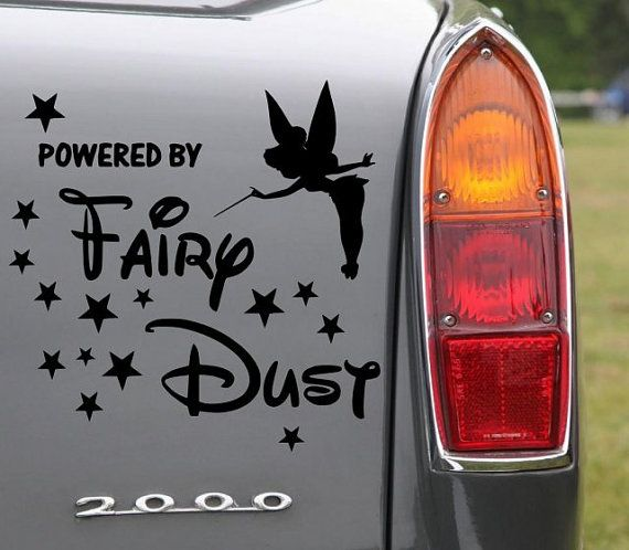 Tinkerbell Powered By Fairydust version 1 - Lovely Car Sticker X-SMALL 15cm x 15cm SKU:140203