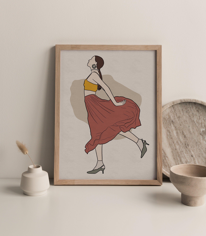 Feminine Wall Art Red Skirt Girl Art Abstract Woman Art Etsy In 2021 Feminine Wall Art Modern Art Prints Art Girl