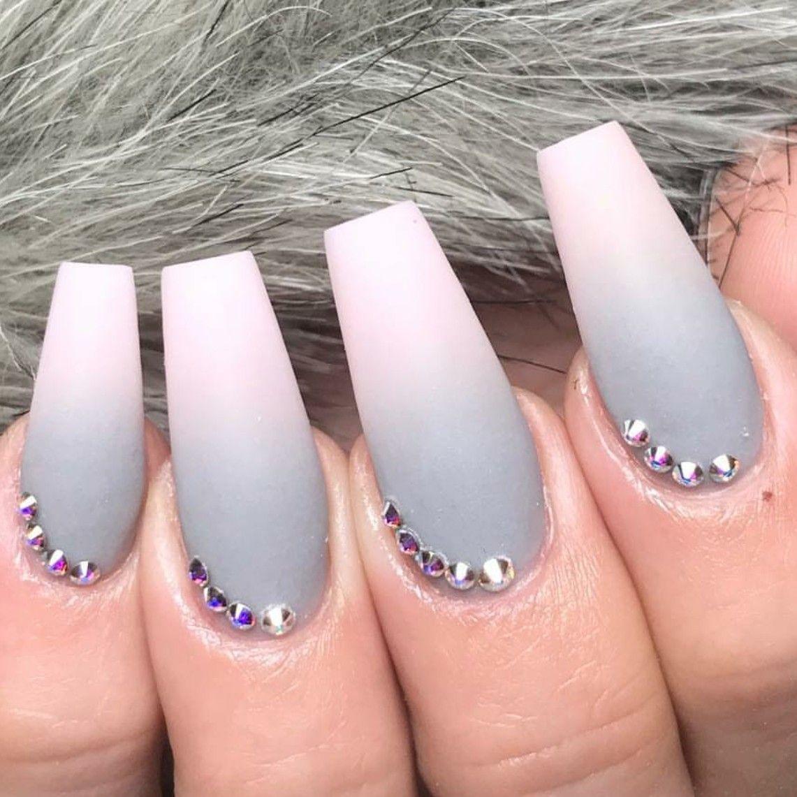 Ballerina Nails Ombre Nails Grey Nails Matte Nails Nails With Rhinestones Acrylic Nails Fall Nails Ballerina Nails Gray Nails Grey Matte Nails