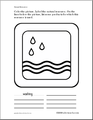 Coloring Worksheet Natural Resource Water Color The Picture Label The Natural Resource On The Lines Below Writing Forms Color Worksheets Coloring Pages