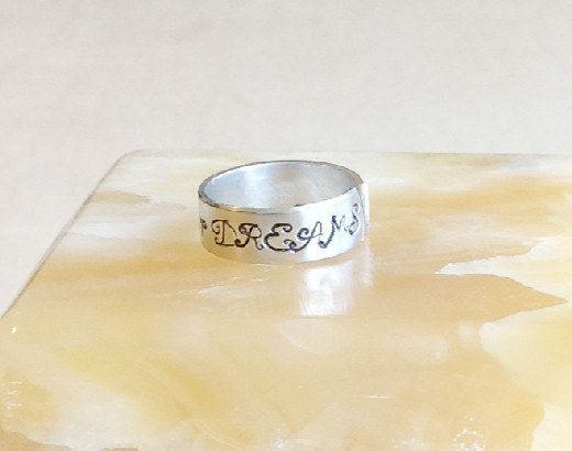 Stamped Metal Ring Band Custom Hand Stamped by BlueCornerCreasigns