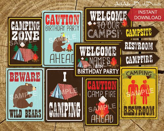 PDF format-Instant Download -Camping Birthday Party signs printable