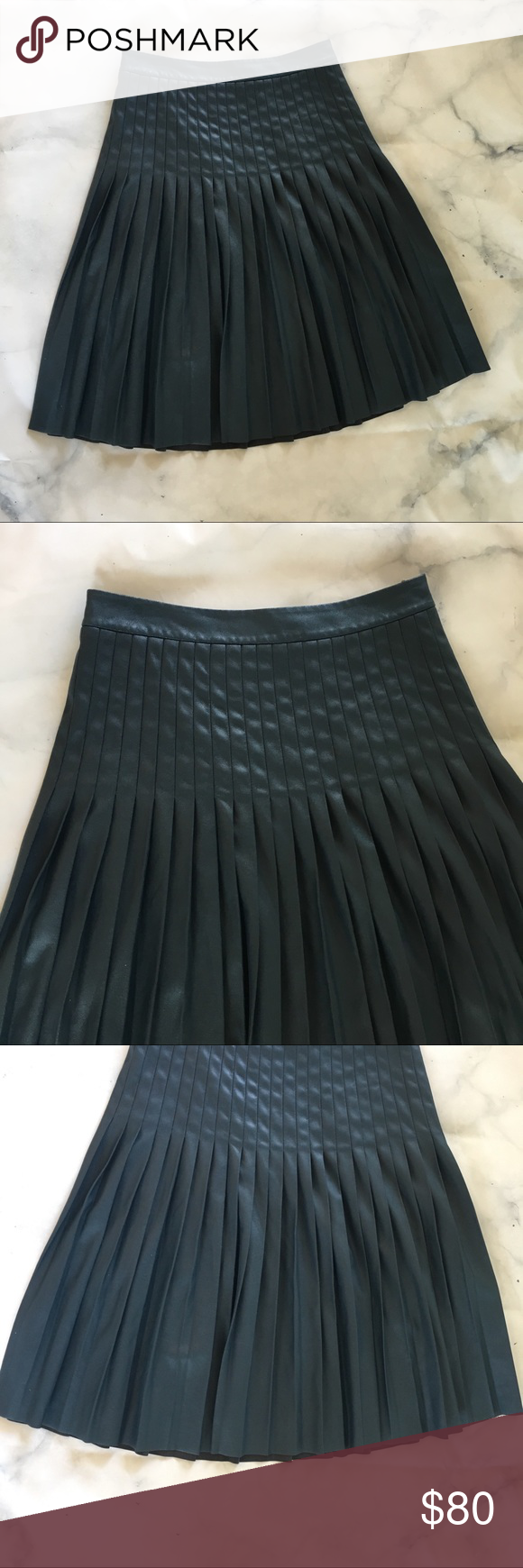 c7739f9864 Rebecca Taylor Vegan Leather Skirt Pleated Blue 2 Rebecca Taylor Pleated  Vegan Leather Skirt Adorable and a very versatile closet staple.