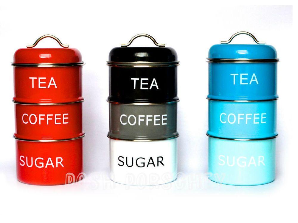 Retro Vintage Stacking Tea Coffee Sugar Red Black Blue Storage Jars Canisters