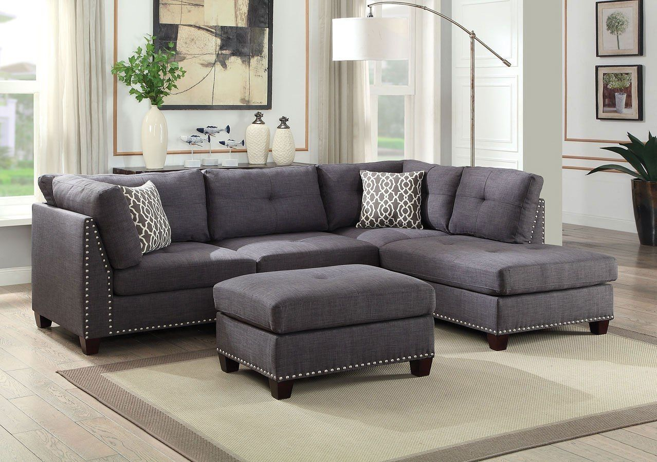 Laurissa Right Chaise Sectional W Ottoman Light Charcoal Gray Sectional Living Room Leather Sectional Living Room Sectional Sofa