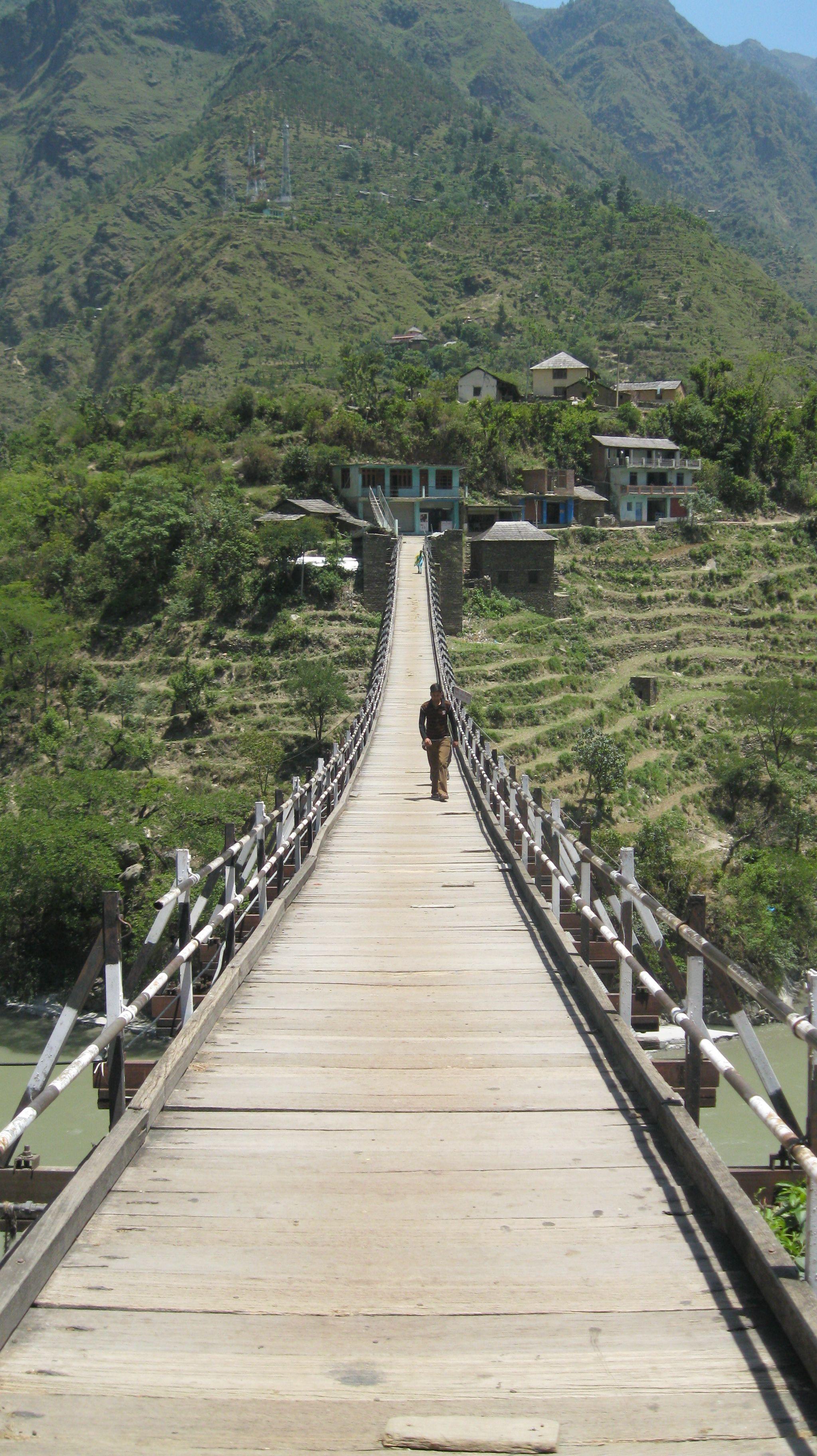 The Photo Of A Bridge Adjoining 2 Mountains At Manali India