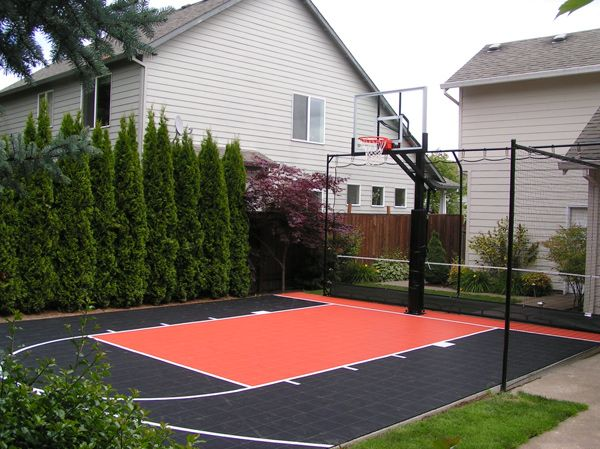 Outdoor basketball court on pinterest backyard Indoor half court basketball cost