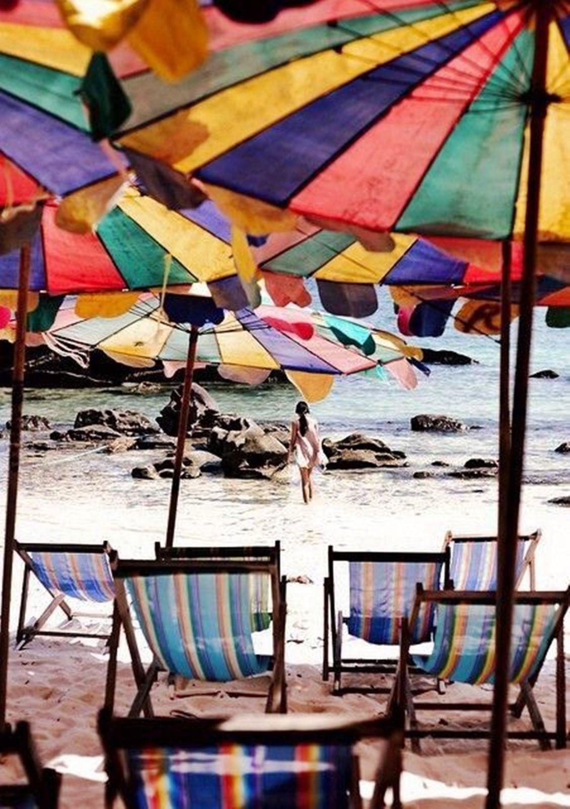 Ldy Bsil I love the beach, Colorful umbrellas, Beach