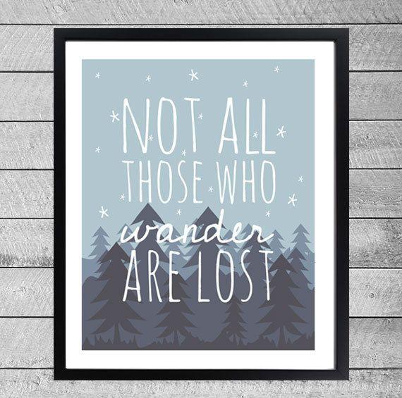 Travel Art Printable Art Print Design Illustratie door DesignClaud, €3.95 #quote Not all those who wander are lost. Wanderlust. Print. Card. Poster.