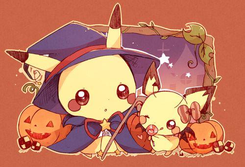 pikachu and pichu - halloween