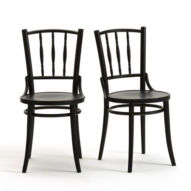 Chaise De Bistrot Trocket Lot De 2 Noire Meubles Pas Cher