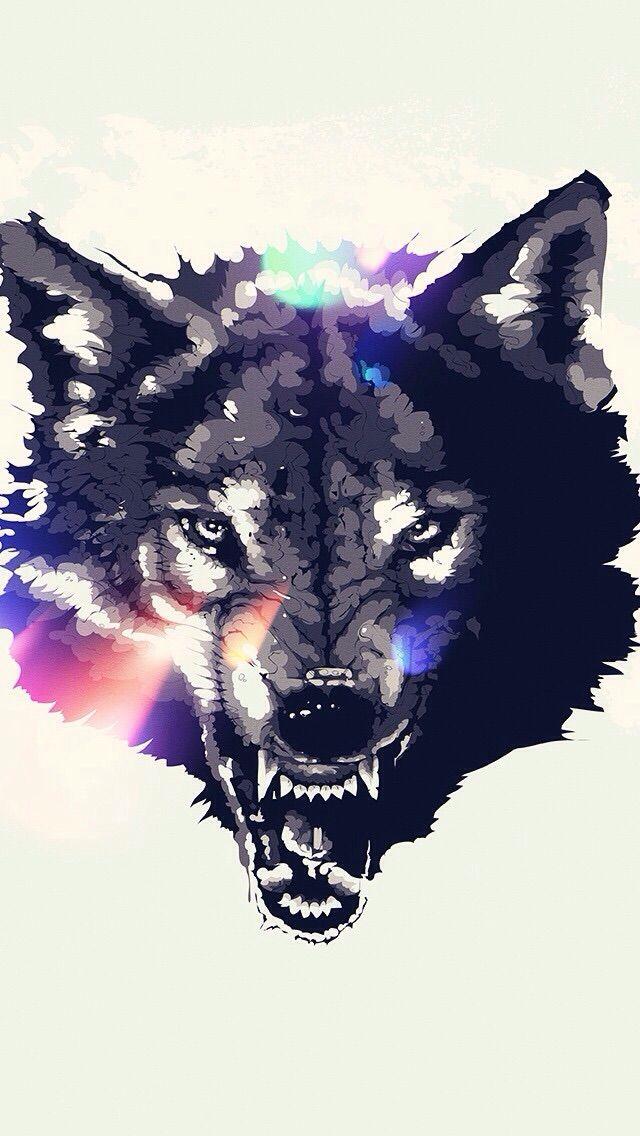Angry Dog Wallpaper Lobos Papel De Parede De Animais Arte Colorida