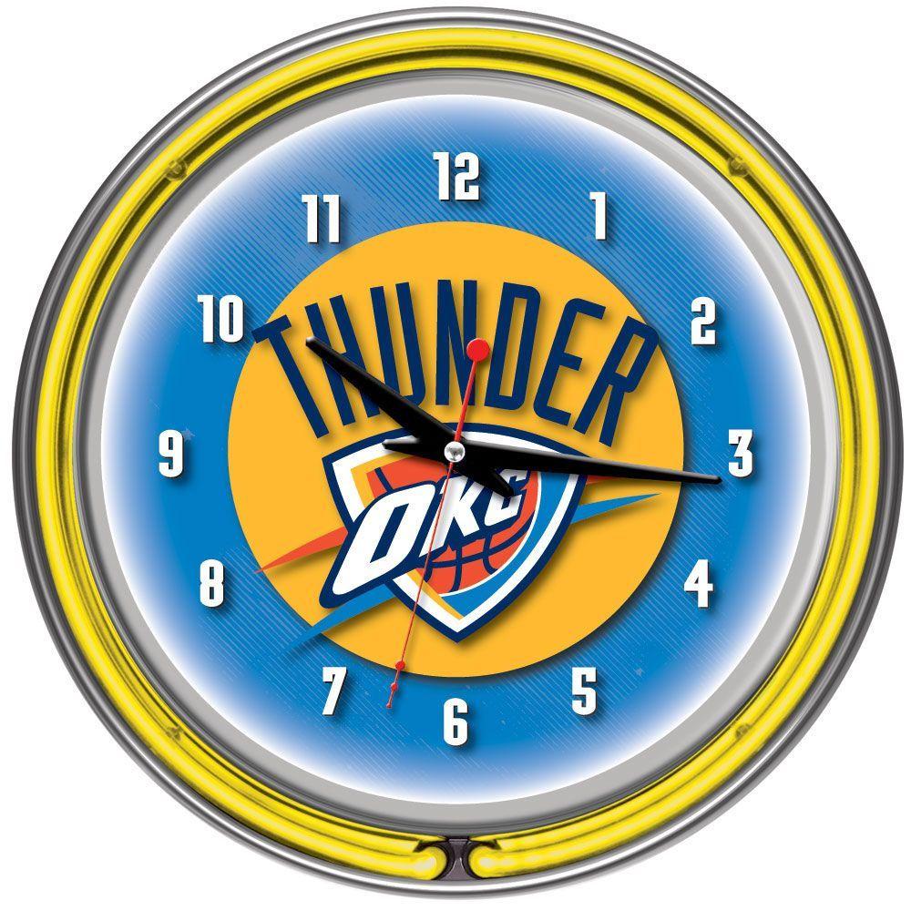 Trademark Games Oklahoma City Thunder NBA Chrome Double Neon Clock ...