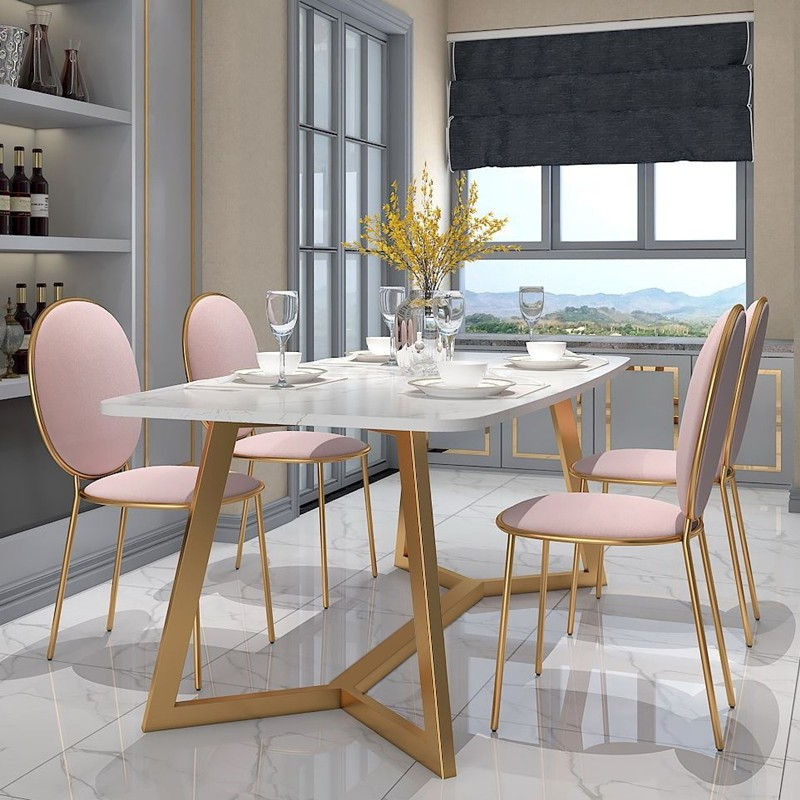 Modern Stylish Design Rectangular Large Dining Table In Gold With White Faux Marble Top Gold Dining Room Faux Marble Dining Table Dining Table Marble