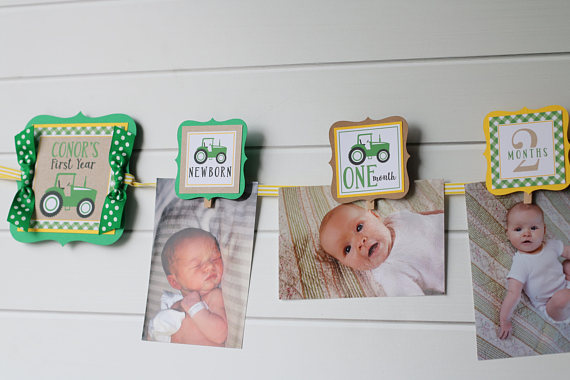 Tractor Birthday Photo Banner Green Yellow 12 Month Etsy In 2020 Birthday Photo Banner Tractor Birthday Farm Birthday Party