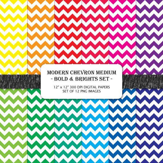 Modern Chevron Medium Bold & Brights 12 x 12 Digital by PixelHoot, $4.00