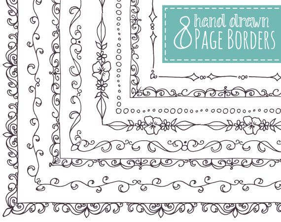 8 Doodly Page Borders Clip Art Hand Drawn Frames Doodle Etsy In 2021 How To Draw Hands Drawing Frames Doodle Borders