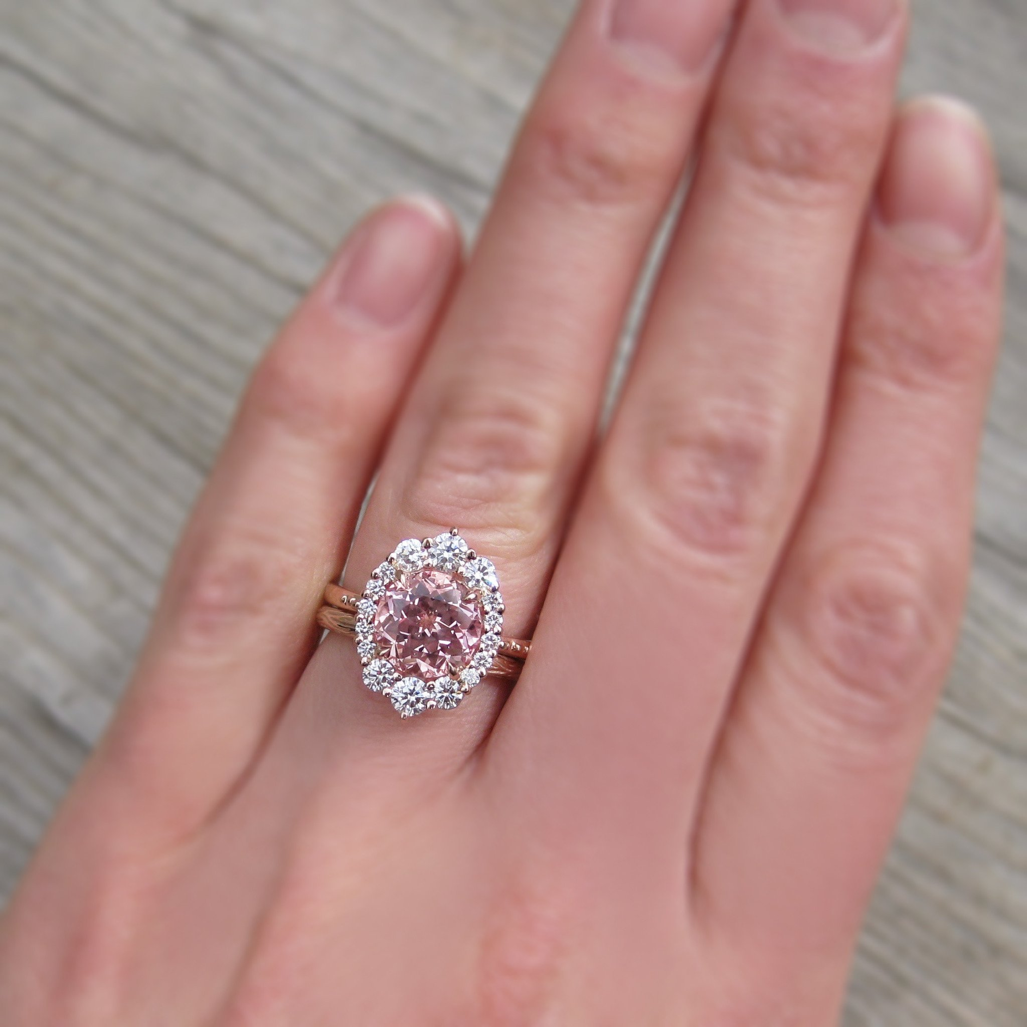 Low profile peach champagne sapphire vintage halo ring in rose gold ...