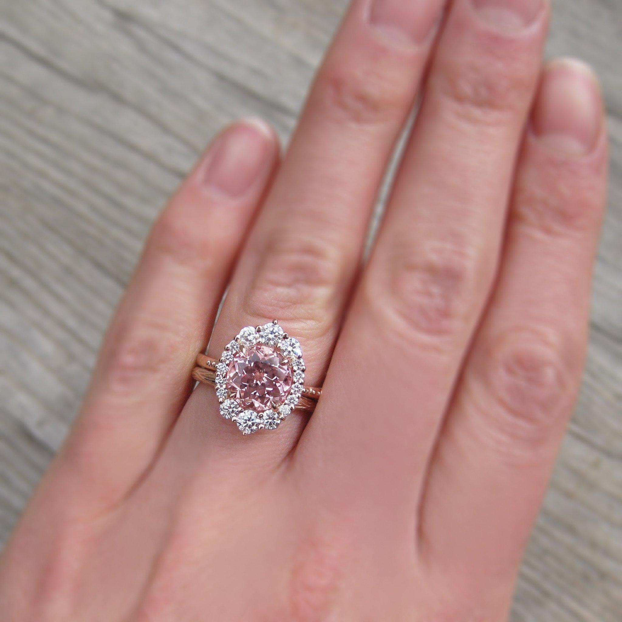 Peach Sapphire Engagement Ring Engagement Rings Sapphire Peach