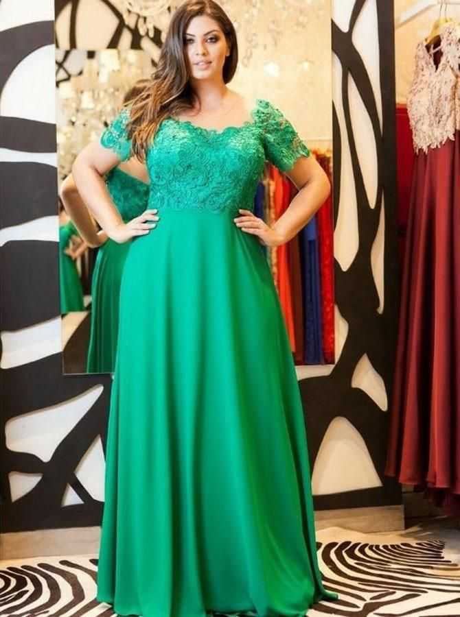 59e3dcdbaeb A-Line Illusion Neck Green Chiffon Plus Size Prom Dress with Lace in ...