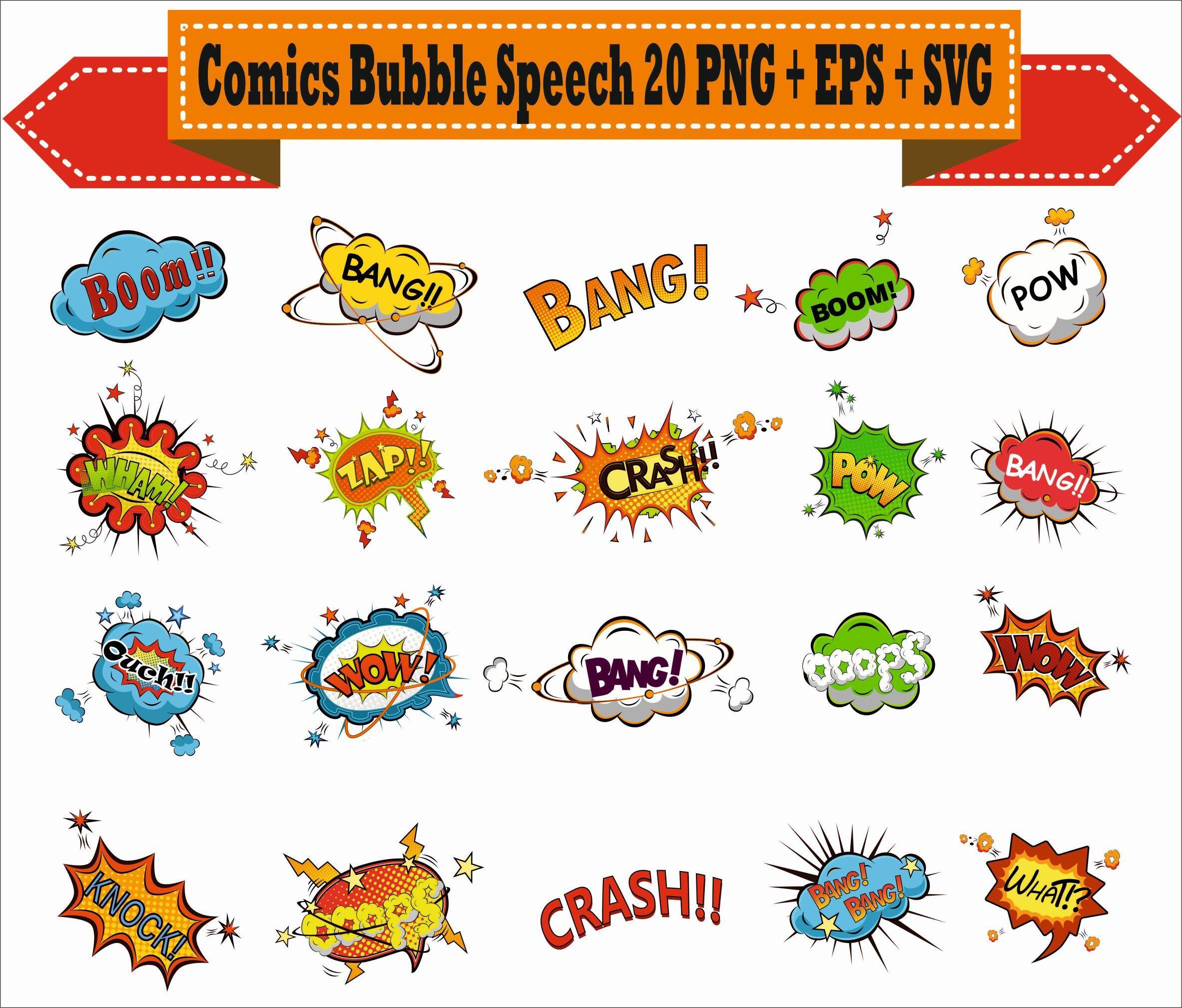 How to scrapbook words - Comics Book Speech Bubbles Pop Word Superhero Chat Play Pack Vector Clipart Png Eps Svg Digital Files Scrapbook Supplies Instant Download