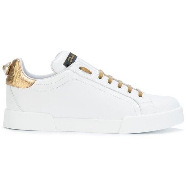 Dolce E Gabbana Women's White/Gold Leather Sneakers (1.715 BRL) ❤ liked on  Polyvore featuring shoes, sneakers, white, white leather trainers, dolce…