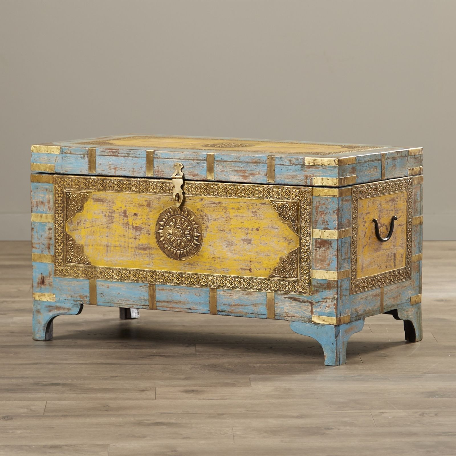 The Blue And Gold Of This Anthro Inspired Storage Trunk