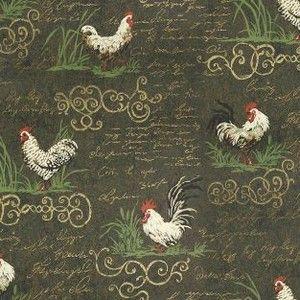 Rooster Script Black Waverly Fabrics Wallpaper