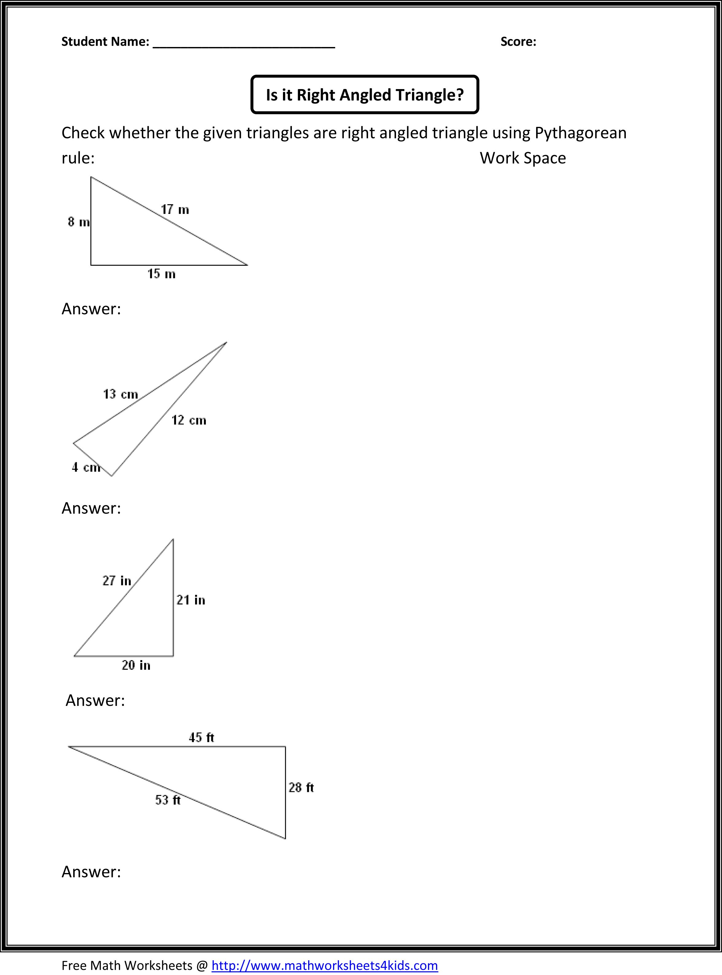 Pythagorean theorem worksheet – High School Algebra Worksheets