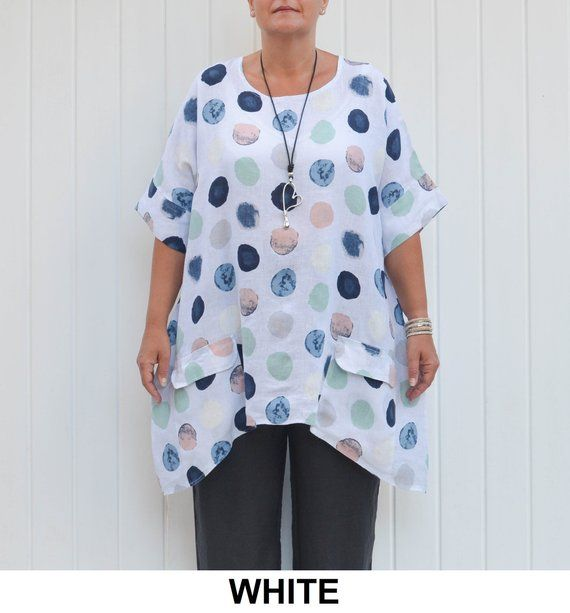 bb990aa30bb Women s Plus Size Summer LINEN Tunic Top