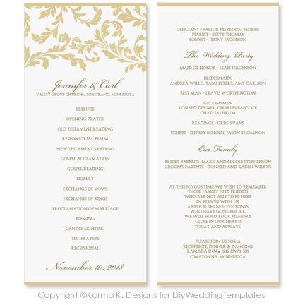 Wedding Program Template INSTANT DOWNLOAD by DiyWeddingTemplates - sample program templates