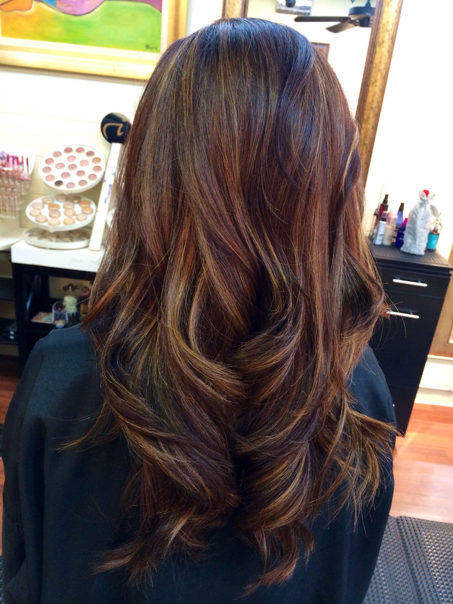 Red Brown With Golden Carmel Highlights Hair Beauty Hair Hair Highlights