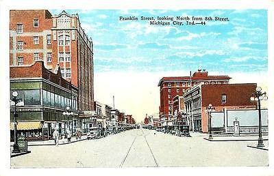 Michigan city indiana in 1920s franklin street north from 8th vintage postcard michigan city for Olive garden michigan city indiana