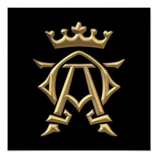 Golden 3 D Alpha And Omega Wcrown Symbol Poster Crown Symbol