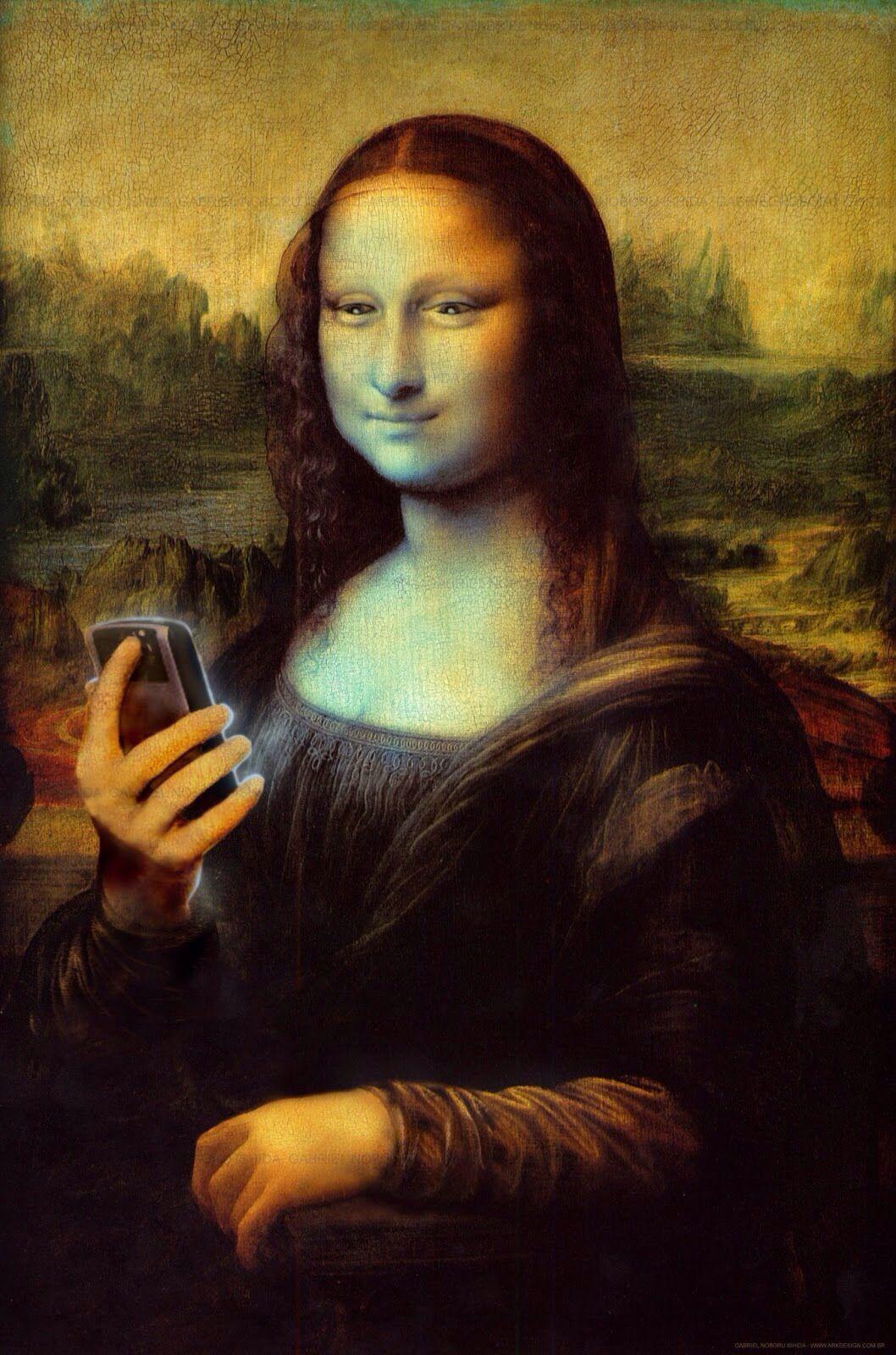 Mona Lisa holding a cell phone art | Mona Lisa Art | Mona ...