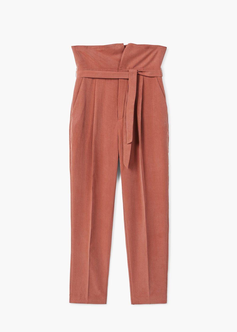 Pantalón cinturón lazo - Mujer  484dd5f98e1f