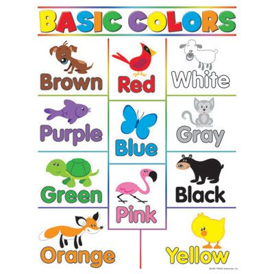 Basic Color Chart With Names Basic Colors Learning Charts 17 X
