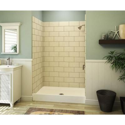 aquatic a2 34 in x 48 in single threshold shower base in white