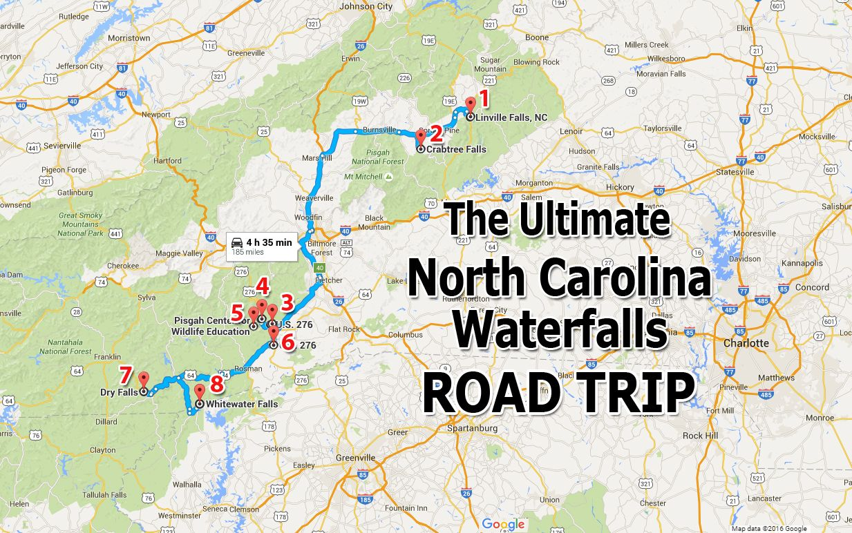 The Ultimate North Carolina Waterfalls Road Trip Is Right Here - Us map best roadtrip map