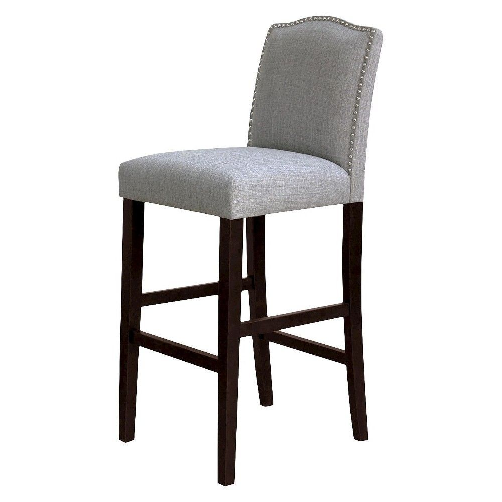 Camelot Nailhead Trim 30 Barstool Hardwood Gray Threshold Grey