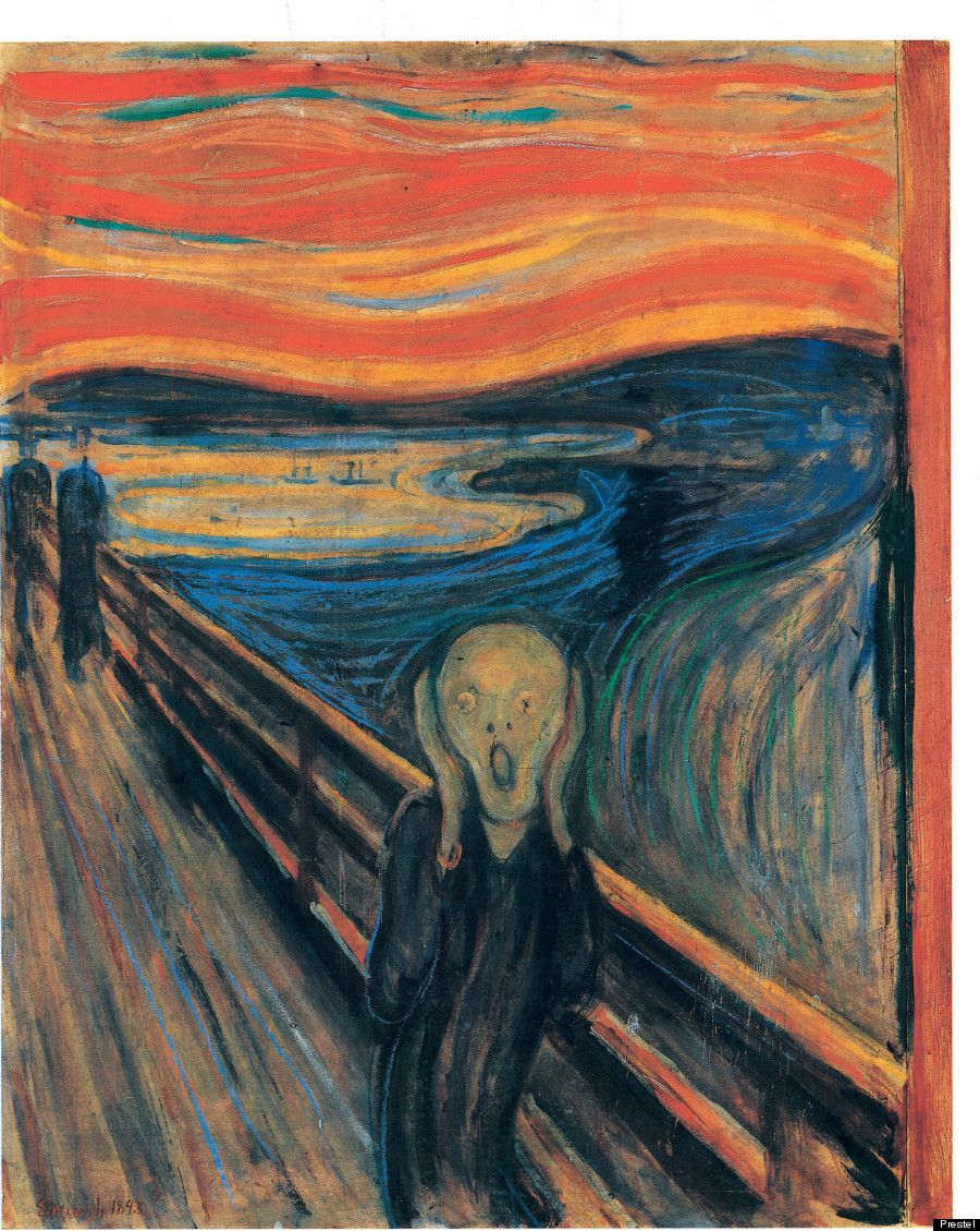 """Edvard Munch's """"The Scream"""" (1893) -""""The garish colors and the swirling lines, which seem to dissolve the figures, create a strong impression of intense paint and anguish -- ev..."""