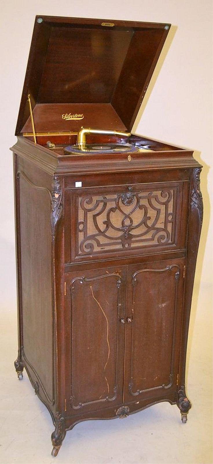 Antique Mahogany Silvertone Phonograph - Antique Mahogany Silvertone Phonograph Phonograph & Antique Music